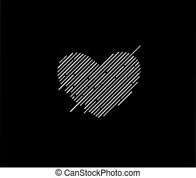 Abstract valentines day hearts vector line art design.