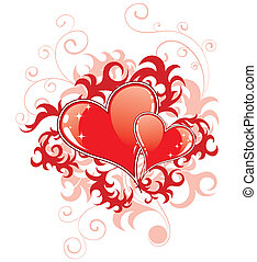 Abstract Valentines Day with hearts and florals - Abstract...