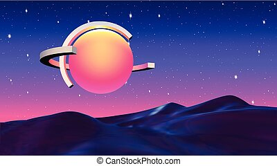 Abstract vaporwave background with sun or hot ball and ...