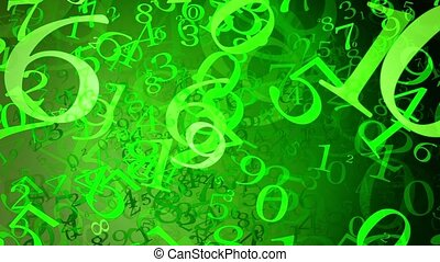 Abstract variables numbers in green