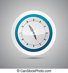 Abstract Vector 3d Paper Blue and White Clock Isolated on...