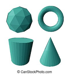 Abstract vector 3d shapes set. Vector illustration