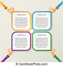 Abstract vector 4 steps infographic template in 3D style for layout workflow scheme, numbered options, chart or diagram