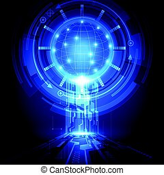 abstract, vector, achtergrond, digitale technologie, concept.