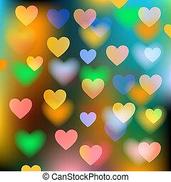 abstract, vector, achtergrond, met, hartjes