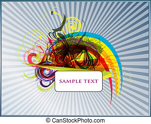 abstract, vector, achtergrond, set, op, een, zwarte...