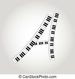 Abstract vector alphabet -  A  made from  piano - alphabet set
