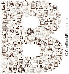 Abstract vector alphabet - B made from coffee icon
