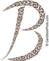 Abstract vector alphabet - B made from line thai art pattern  - alphabet set