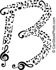 Abstract vector alphabet - B made from music notes - alphabet se