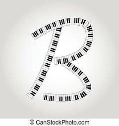 Abstract vector alphabet -  B  made from  piano - alphabet set