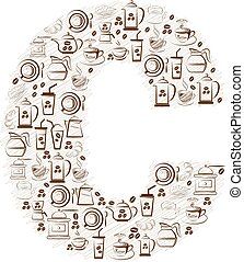 Abstract vector alphabet - C made from coffee icon