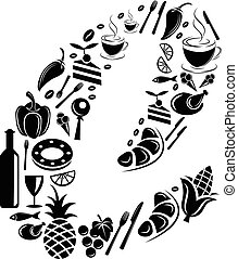 Abstract vector alphabet - C made from Food icon - alphabet set