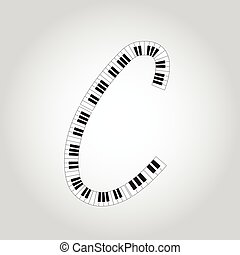 Abstract vector alphabet -  C  made from  piano - alphabet set