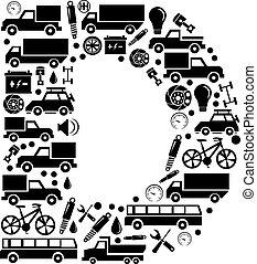 Abstract vector alphabet - D made from car icon - alphabet set