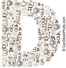 Abstract vector alphabet - D made from coffee icon