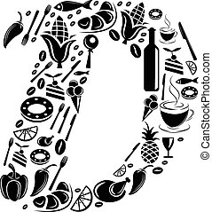 Abstract vector alphabet - D made from Food icon - alphabet set