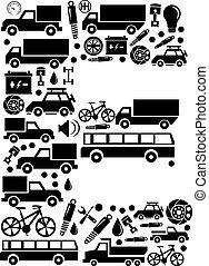 Abstract vector alphabet - E made from car icon - alphabet set