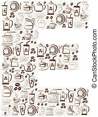 Abstract vector alphabet - E made from coffee icon