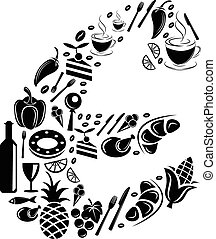 Abstract vector alphabet - E made from Food icon - alphabet set