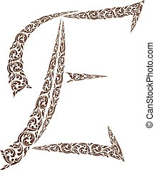 Abstract vector alphabet - E  made from line thai art pattern  - alphabet set
