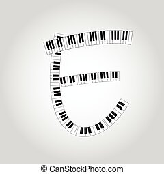 Abstract vector alphabet -  E  made from  piano - alphabet set