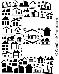 Abstract vector alphabet - E, made from the house icon - alphabet set.
