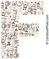 Abstract vector alphabet - F made from coffee icon