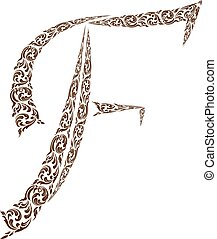 Abstract vector alphabet - F  made from line thai art pattern  - alphabet set