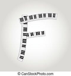 Abstract vector alphabet -  F  made from  piano - alphabet set