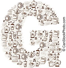 Abstract vector alphabet - G made from coffee icon