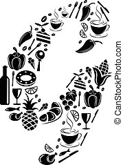 Abstract vector alphabet - G made from Food icon - alphabet set