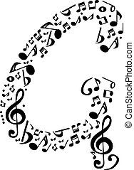 Abstract vector alphabet - G made from music notes - alphabet se