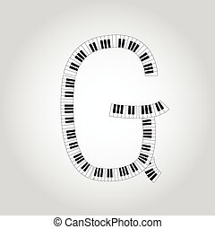 Abstract vector alphabet -  G  made from  piano - alphabet set