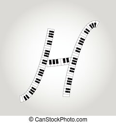 Abstract vector alphabet -  H made from  piano - alphabet set