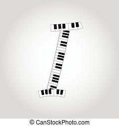 Abstract vector alphabet -  I  made from  piano - alphabet set