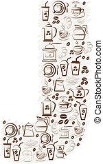 Abstract vector alphabet - J  made from coffee icon