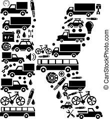 Abstract vector alphabet - K made from car icon - alphabet set