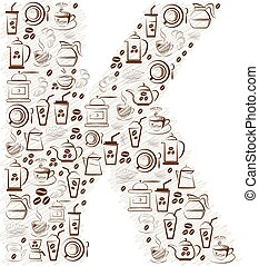 Abstract vector alphabet - K  made from coffee icon