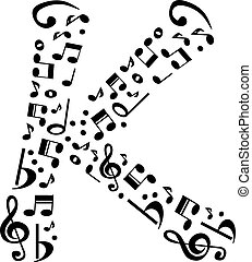 Abstract vector alphabet - K made from music notes - alphabet se
