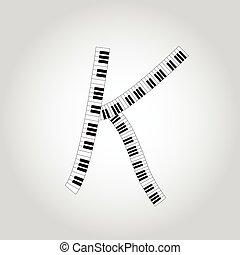 Abstract vector alphabet -  K  made from  piano - alphabet set