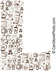 Abstract vector alphabet - L  made from coffee icon