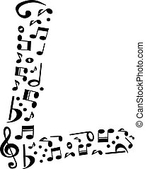 Abstract vector alphabet - L made from music notes - alphabet se