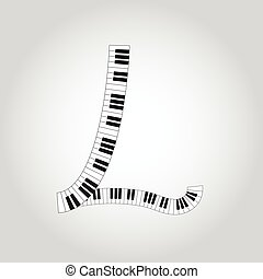 Abstract vector alphabet -  L  made from  piano - alphabet set