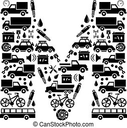 Abstract vector alphabet - M made from car icon - alphabet set