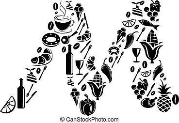 Abstract vector alphabet - M made from Food icon - alphabet set