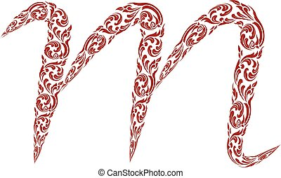 Abstract vector alphabet - m made from line thai art pattern - alphabet set