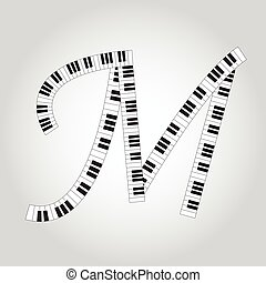 Abstract vector alphabet -  M  made from  piano - alphabet set