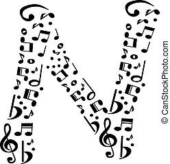 Abstract vector alphabet - N made from music notes - alphabet se