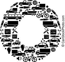 Abstract vector alphabet - O made from car icon - alphabet set